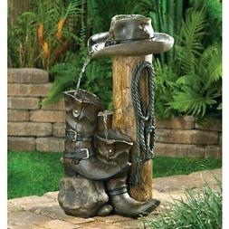 water fountain outdoor cowboy themed garden yard