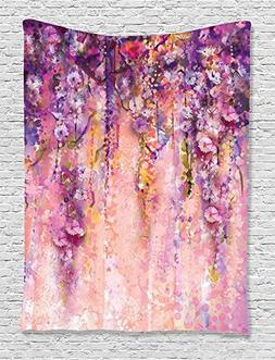 Ambesonne Watercolor Flower Decor Collection, Wisteria Tree