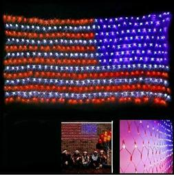 Waterproof American Flag Net Lights 420 Bright LEDs 4th of J