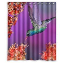 Waterproof Bathroom Fabric Shower Curtain, Bird Animal Hummi
