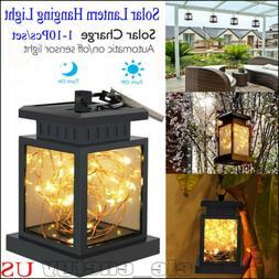 Outdoor Solar Lantern Hanging Light LED Waterproof Yard Pati