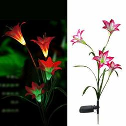 Waterproof Solar Powered 4LED Light Red Lily Flower Garden L