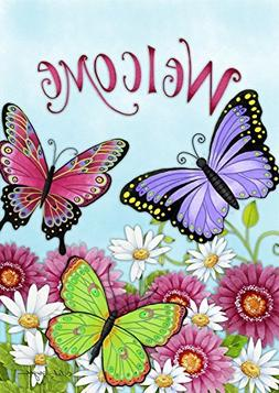 welcome butterfly summer garden flag