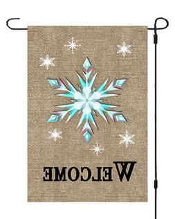 Welcome Christmas Star Garden Banner Flag 12x17 Burlap Style