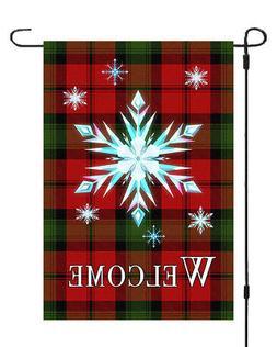 Welcome Christmas Star Garden Banner Flag 12x18 Checkered St