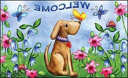 "Toland Home Garden 18 by 30"" Welcome Dog Indoor Outdoor Mat,"