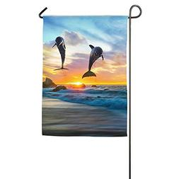 MRFANG Welcome Garden Flag Dolphin In Sea Sunset Double Side