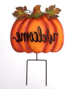 Welcome Pumpkin Sign With Stake Fall Harvest Thanksgiving Ou