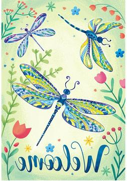 Welcome Spring Garden Flag Dragonfly Banner 12x18 2-Sided He