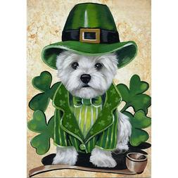 Welcome St. Patrick's Day dog Garden Flag Double-sided House