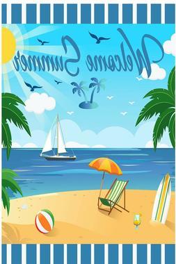 Welcome Summer Garden Flag Outdoor Banner 12x18 2-Sided Heav