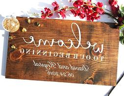 Welcome to Our Wedding Sign, Personalized Wedding Sign, Rust