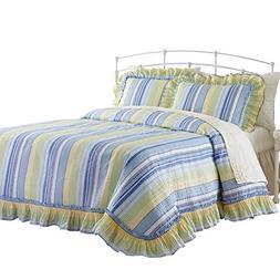 Westport Stripe Plisse Ruffled Edge Lightweight Bedspread, B