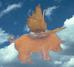 WHEN PIGS FLY FLYING PIG Handmade Garden Yard ART Decor
