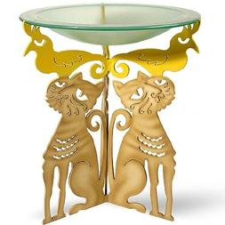Whimsical Cat Bird Bath - Steel Pedestal with Frosted Glass