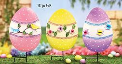 3 Pc Whimsical Colorful Spring Easter Chick Eggs Display Spr