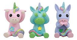 Ebros Whimsical See Hear Speak No Evil Rainbow Unicorn Figur
