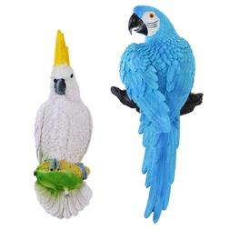 White & Blue Parrot Collectible Animal Figurine Statue Home