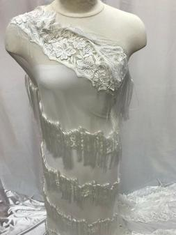 White Color Mesh Lace Fabric bridal decor Sold By the Yard W
