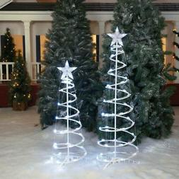 White LED Spiral Tree Indoor Outdoor Home Yard Holiday Seaso