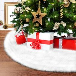 "Ohuhu 48"" White Plush Christmas Tree Skirt, Snow White Faux"
