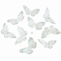 "WHITE WITH SILVER GLITTER BUTTERFLY GARLAND 5x2.5x78""L"