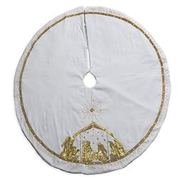 56 inch White Velvet and Gold Tone Embroidered Nativity Scen