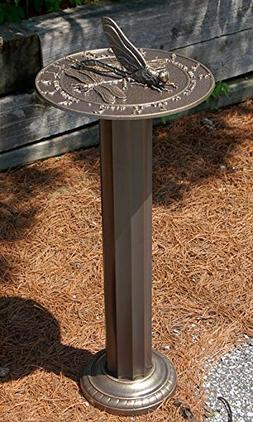 Whitehall Dragonfly Sundial & Roman Pedestal Kit, French Bro