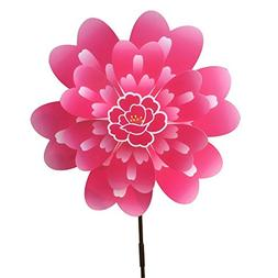 Ladaidra Wind Spinner, Peony Flower 3D Double Layers Stand D