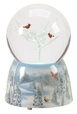 Winter Cardinals 75MM Musical Snow Globe Glitterdome