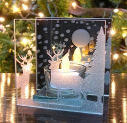 Reindeer Candle Holder - Glittered Christmas Deer Scene Pain