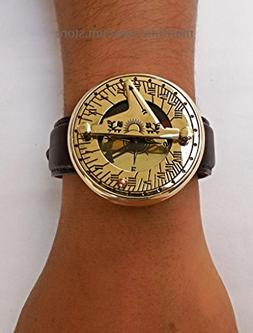 Wirst Watch Sundial Compass with Leather Strap. C-3117-P