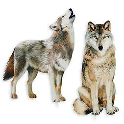 Collections Etc Wolf Decorative Garden Stakes Set, Photoreal