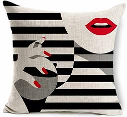 Woman red lips and fingernails lkwu31447 Decorative Cotton L