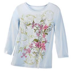 Women's Hummingbird Garden 3/4 Sleeve Sequin Top, by Collect