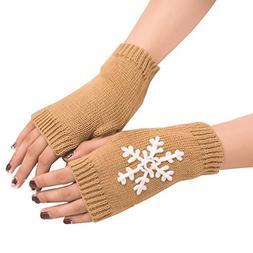 WUAI Womens Gloves Fingerless Christmas Snowflake Pattern Kn