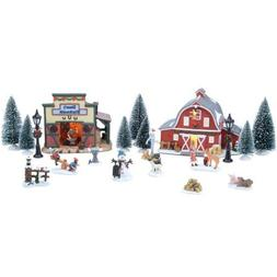 20-Piece Wonderful Country Set Christmas Village, Handpainte