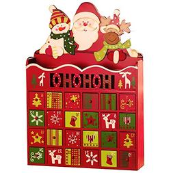 Wooden Christmas Advent Calendar with 24 Drawers for Christm