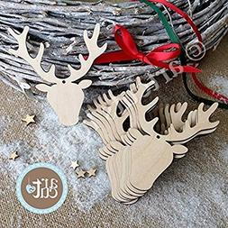Wooden Christmas Ornaments Deer Shapes Laser Cuts Rustic Woo
