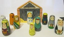 Wooden Nesting Nativity 11 Pc Set Great for Small Spaces RET