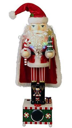 "24"" Wooden Nutcracker Santa with Bluetooth Speaker"