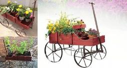 Wooden Wagon Planter Rolling Flower Cart Outdoor Rustic Deco