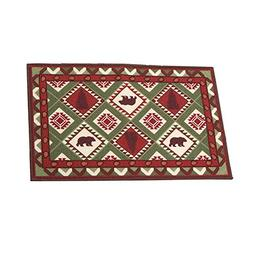 Woodland Northwoods Aztec Patchwork Accent Rug with Skid Res