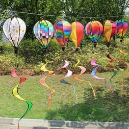 Yard Decor Hot Air Balloon Wind Spinner Rainbow Sequins Wind