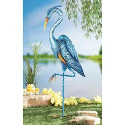 Outdoor Metal Stake Decoration Yard Heron Crane Ornaments Ga