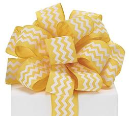 "Yellow Chevron Satin Ribbon 1.5"" wide 20 yard roll Gift Wrap"