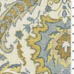 Yellow/Gray/Ivory Covington Floral Print Linen Decor Fabric,