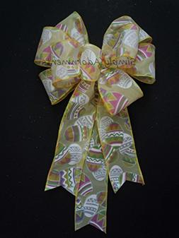 Yellow Pastel Easter Bow Decoration Easter Eggs Wreath Bow E