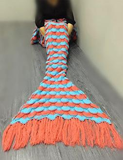 YUSHOP Crochet Knitted Fabric Mermaid Tail Blanket Adults Gi