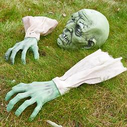 Zombie Face and Arms Lawn Stakes for Best Halloween Graveyar
